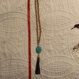 Jewelry - Wooden beaded and faux turquoise necklace
